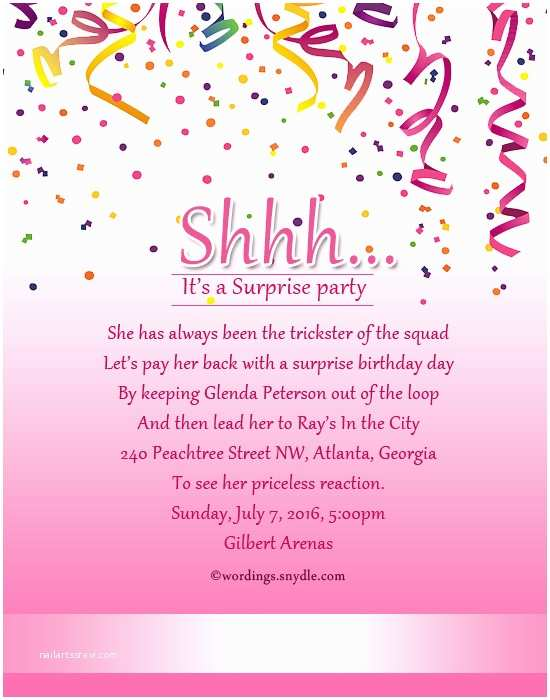 Birthday Party Invitation Message Surprise Birthday Party Invitation Wording Wordings and