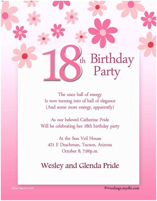 Birthday Party Invitation Sample 18th Wording Wordings And Messages