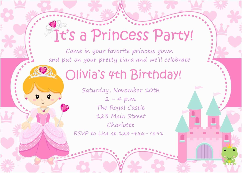 Birthday Party Invitation Sample Princess Wording