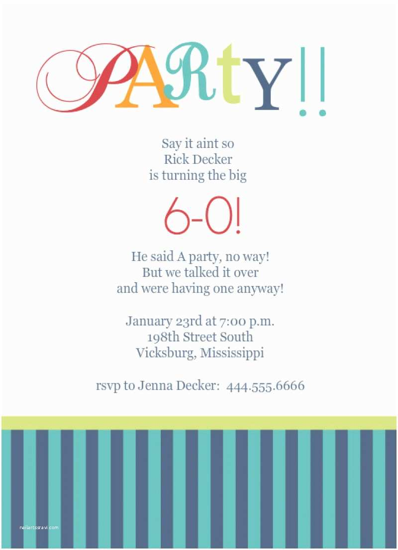 Birthday Party Invitation Sample Template For 60th