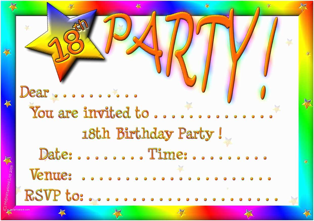 Birthday Party Invitation Template 18th Birthday Party Invitations