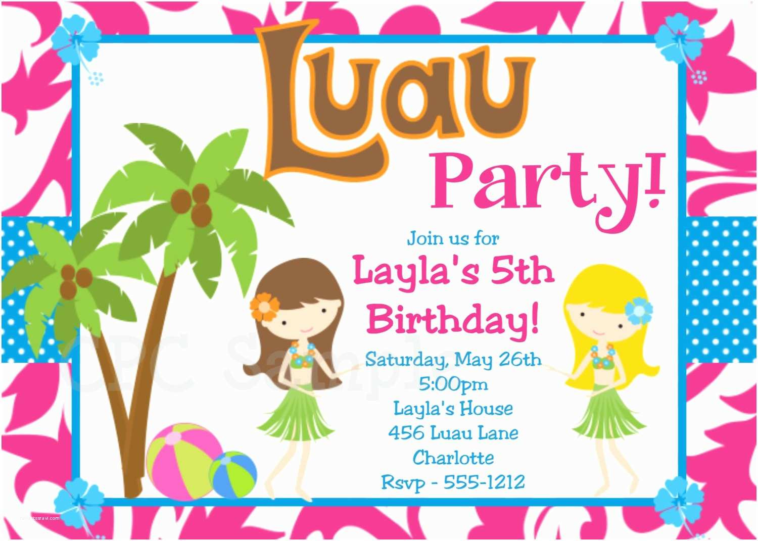 Birthday Party Invitation Template 20 Luau Birthday Invitations Designs