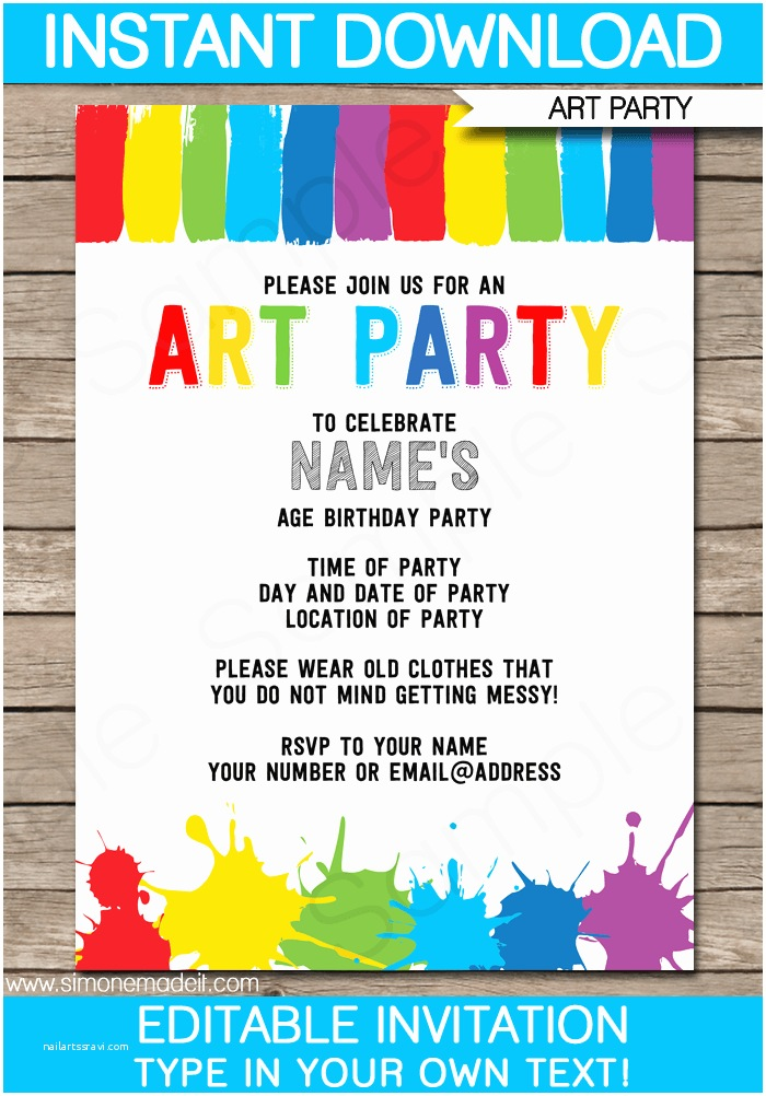 Birthday Party Invitation Template Art Party Invitations Template