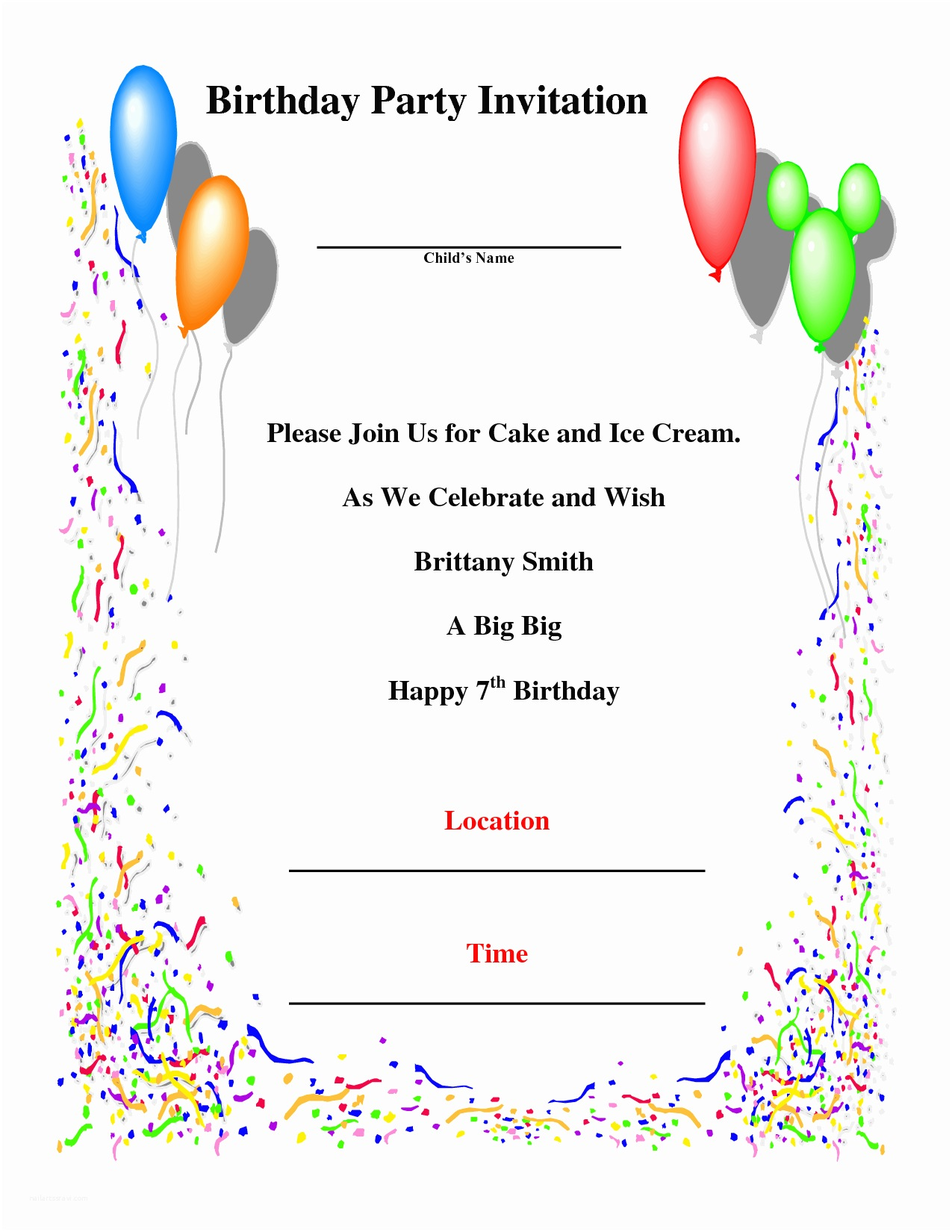 Birthday Party Invitation Template Birthday Party Invitations Template