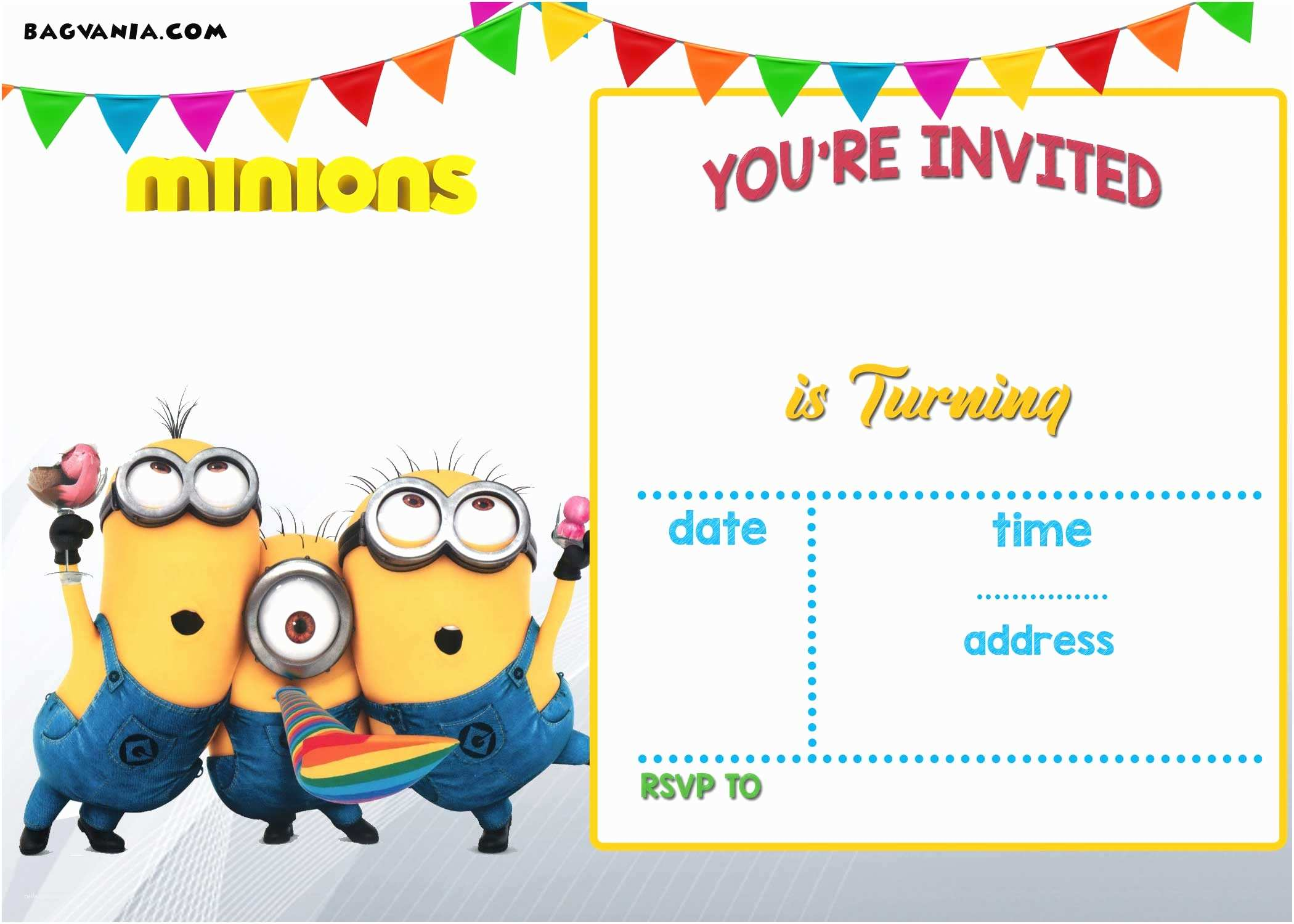 Birthday Party Invitation Template Free Printable Minion Birthday Invitation Templates