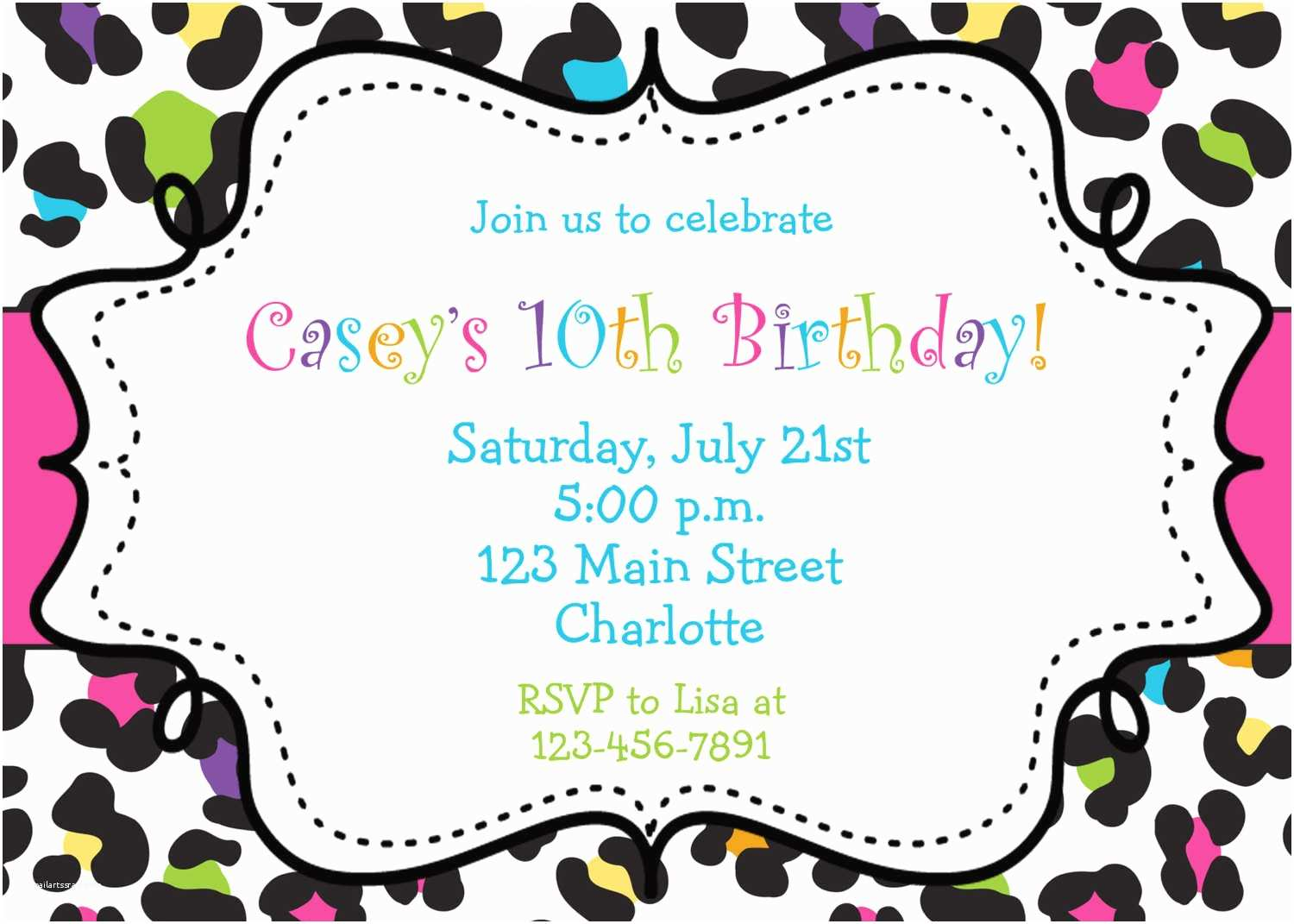 Birthday Party Invitation Template Girl Birthday Invitations Template