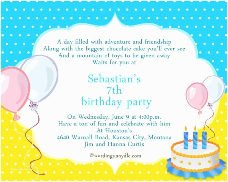 Birthday Party Invitation Wording 7th Birthday Invitation – orderecigsjuicefo