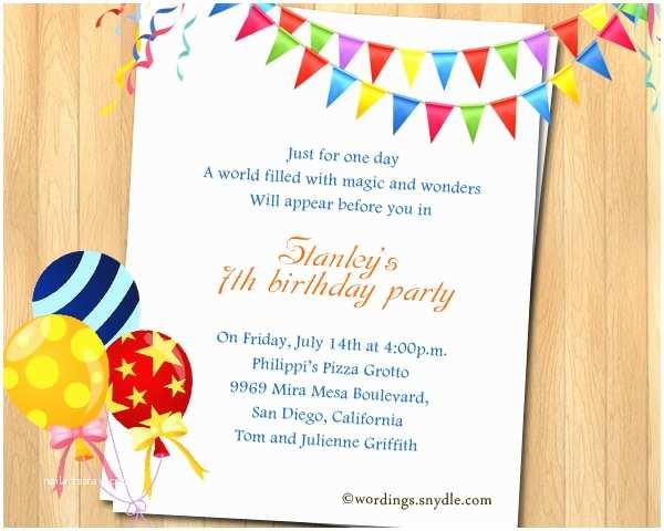 Birthday Party Invitation Wording 7th Birthday Party Invitation Wording Wordings and Messages