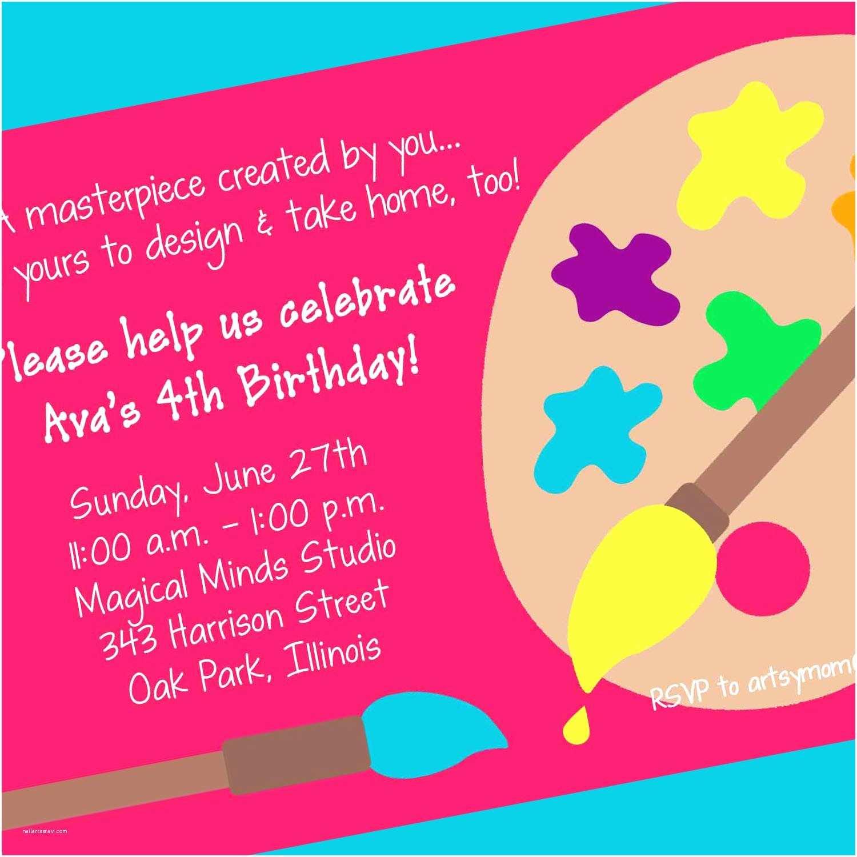 Birthday Party Invitation Wording Art Party Invitation Printable Invitation Design Custom