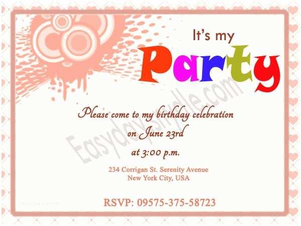 Birthday Party Invitation Wording Easyday