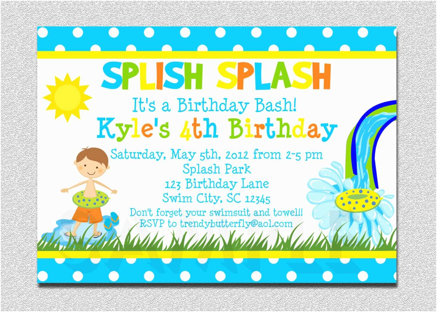 Birthday Party Invitations Boys Pool Waterslide Birthday Invitation Waterslide