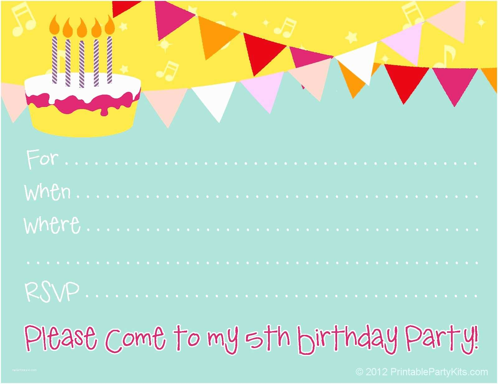 Birthday Party Invitations Free Birthday Party Invitations for Girl – Bagvania Free