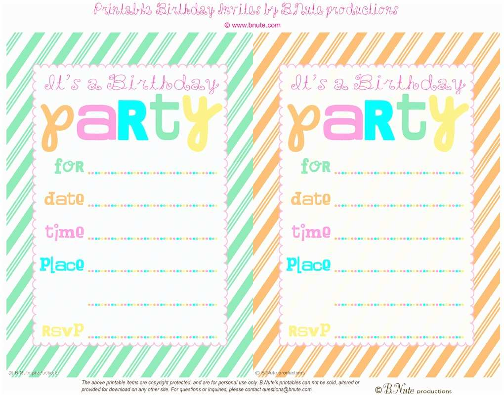 Birthday Party Invitations Free Bnute Productions Free Printable Striped Birthday Party