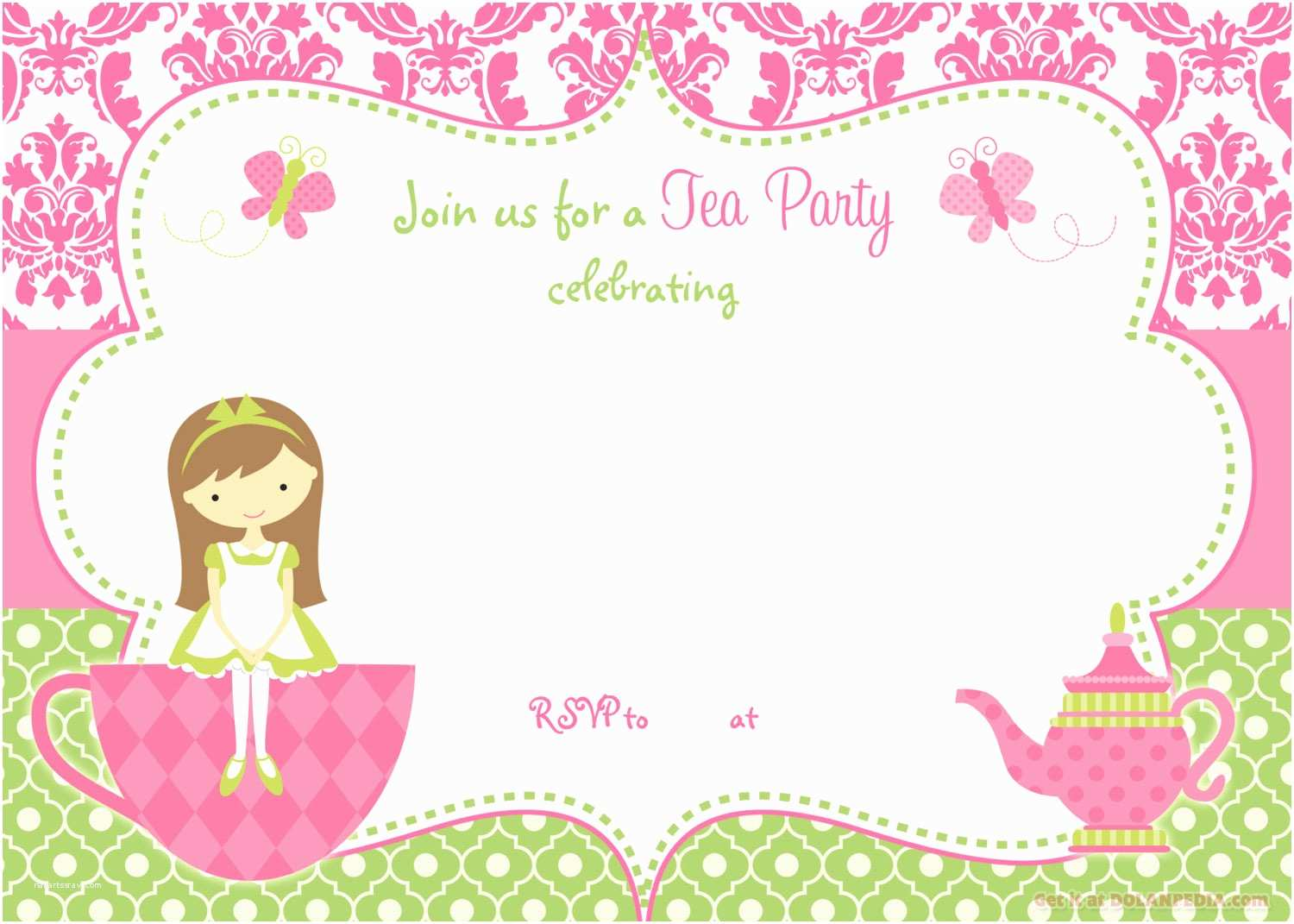 Birthday Party Invitations Free Free Printable Tea Party Invitation Template for Girl