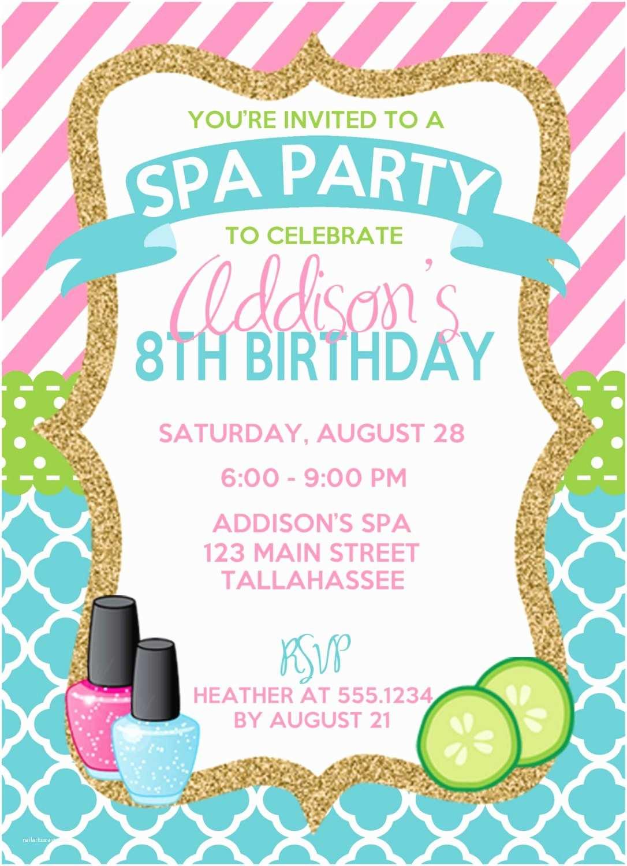 Birthday Party Invitations Free Spa Birthday Invitation Spa Party Invitation Sleepover