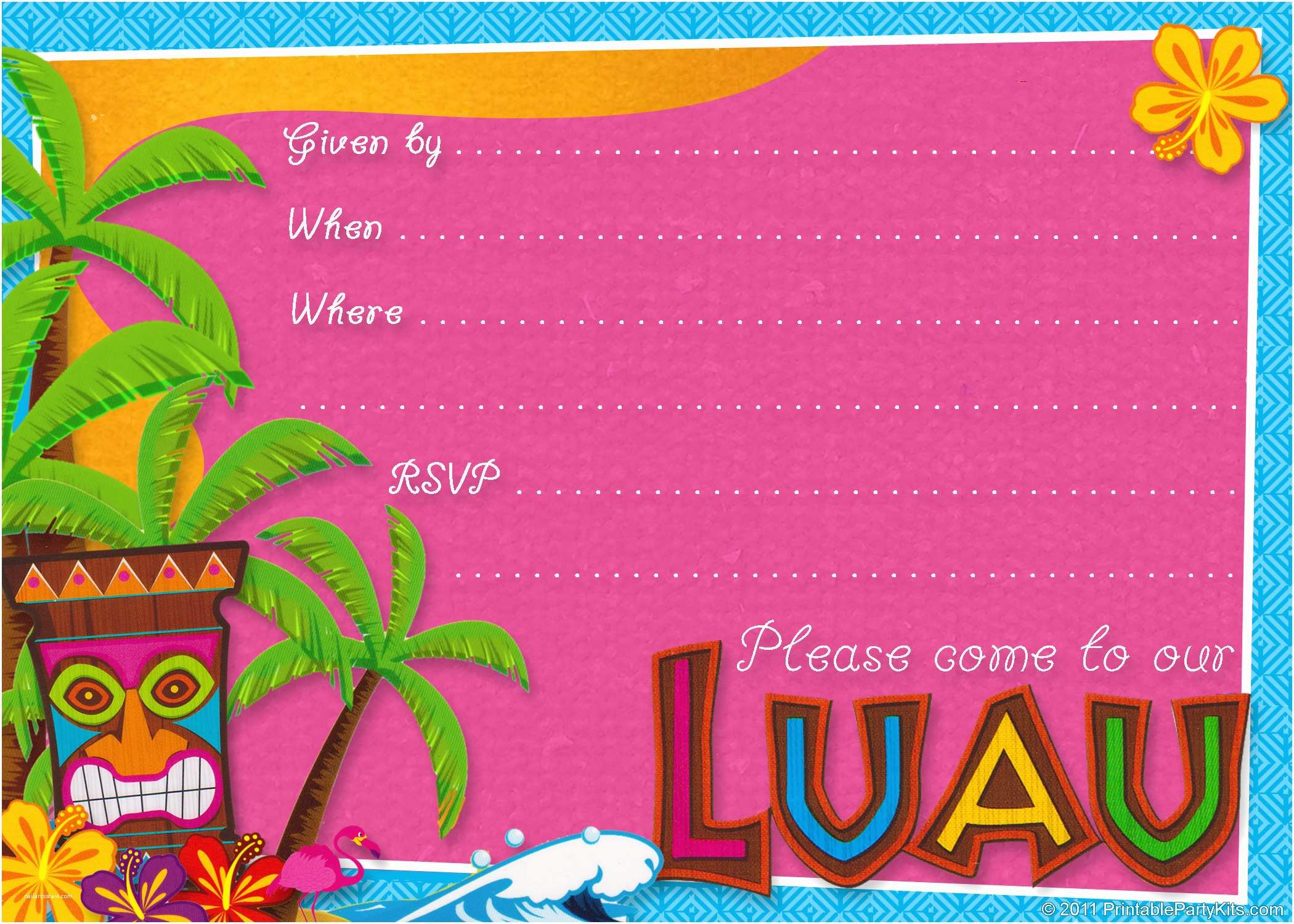 Birthday Party Invitations Online 20 Luau Designs