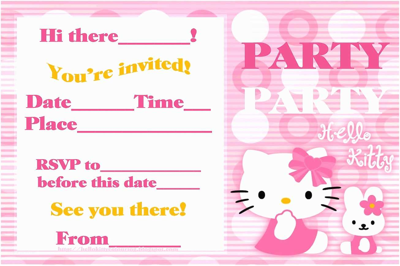 Birthday Party Invitations Online Hello Kitty Invitation Bagvania Free Printable