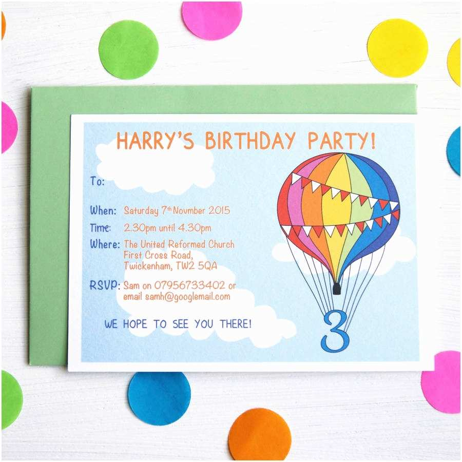 Birthday Party Invitations Rainbow Balloon Personalised Birthday Party Invitations by