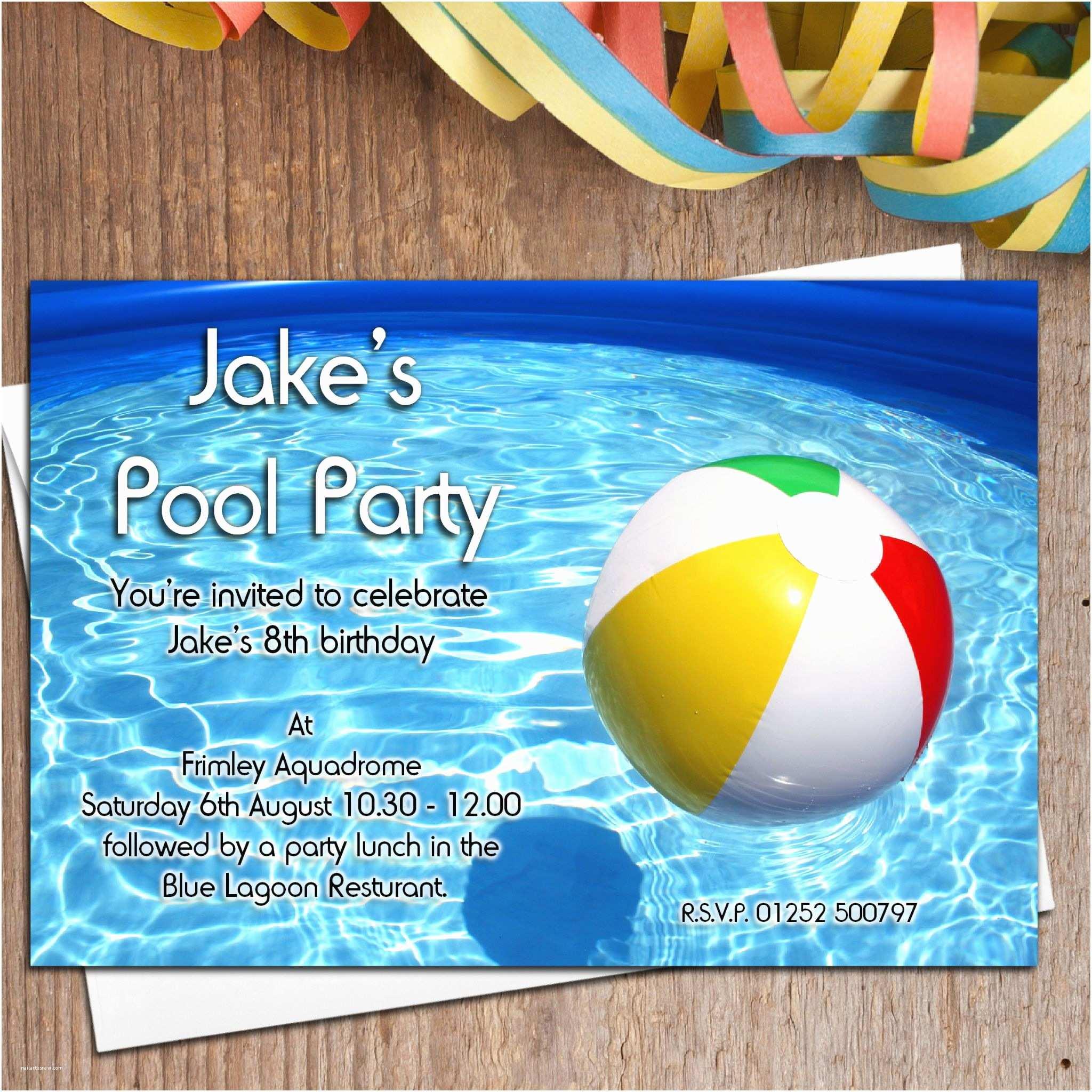 Birthday Pool Party Invitations 10 Personalised Swimming Pool Birthday Party Invitations N17