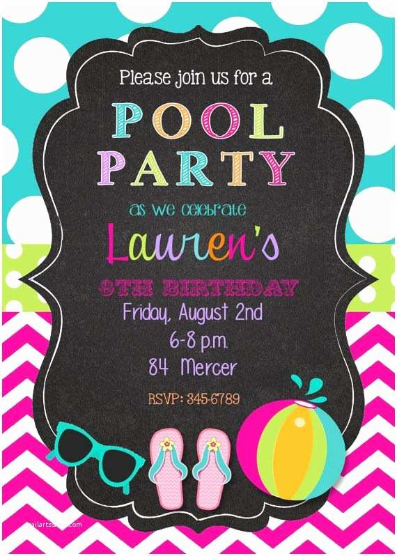 Birthday Pool Party Invitations 12 Pool Party Birthday Party Invitations with Envelopes