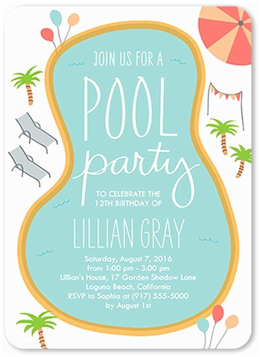 Birthday Pool Party Invitations 18 Birthday Invitations for Kids – Free Sample Templates