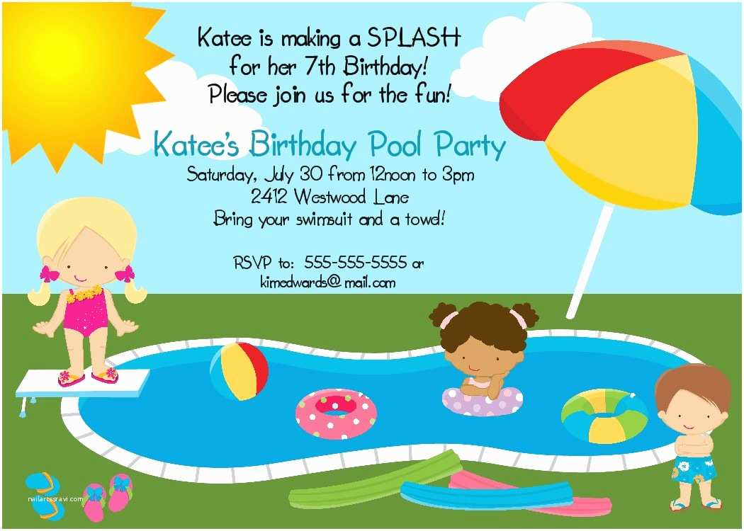 Birthday Pool Party Invitations Bear River Greetings Pool Party Birthday Invitation
