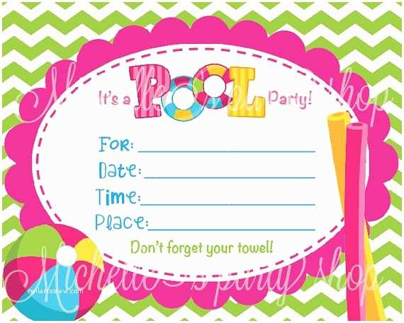 Birthday Pool Party Invitations Blank Invitations for Girls Turning 12