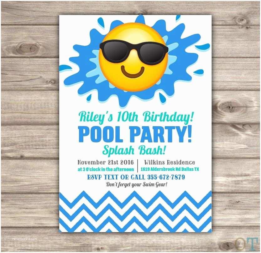 Birthday Pool Party Invitations Emoji Pool Party Birthday Invitations Swim Party Beach