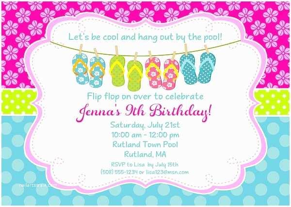 Birthday Pool Party Invitations Flip Flops Pool Party Birthday Invitations