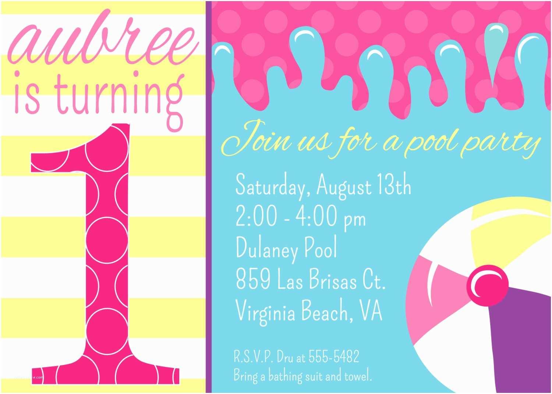 Birthday Pool Party Invitations Free Printable 1st