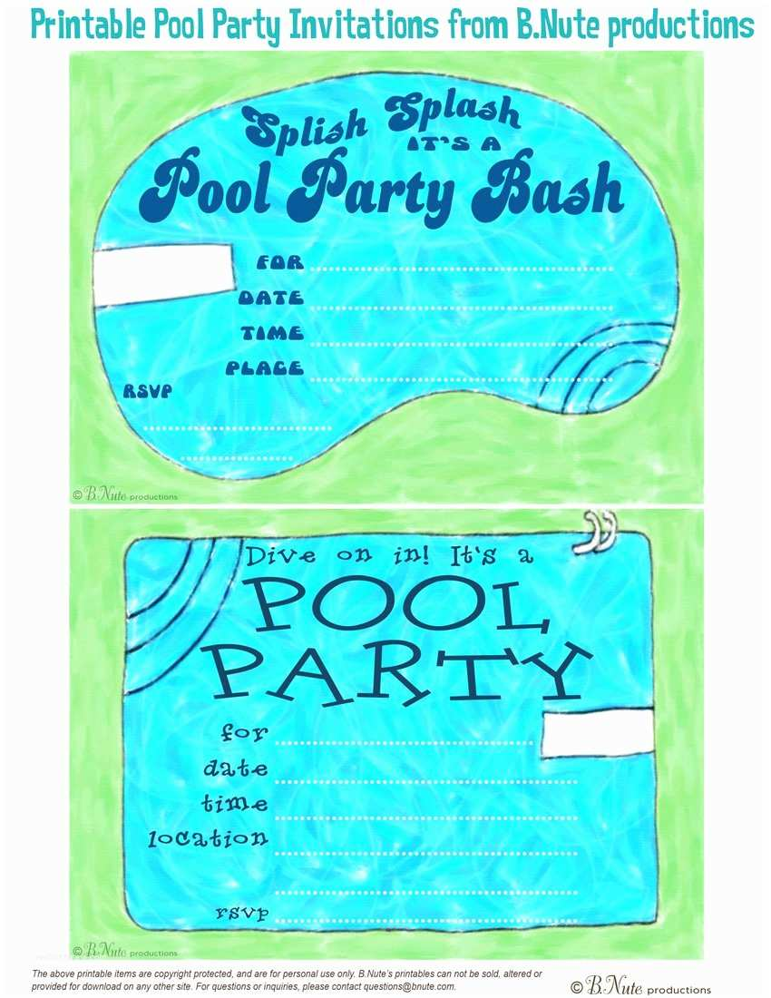 free printable pool party birthday invitations