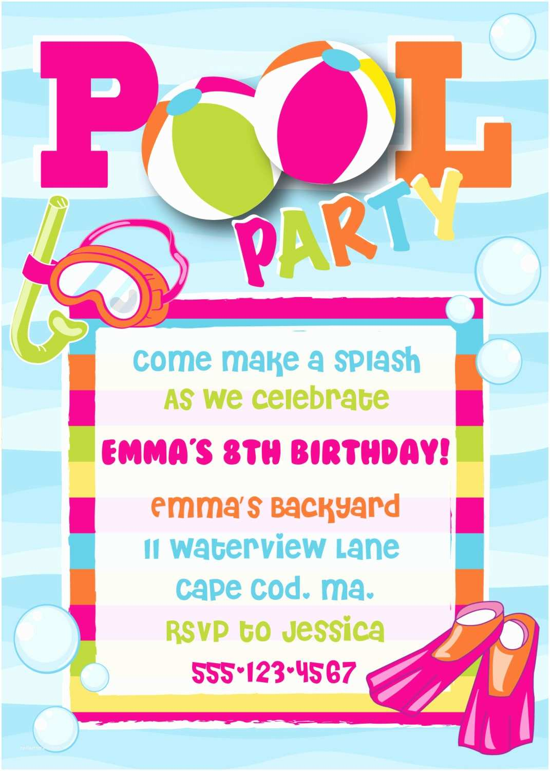 Birthday Pool Party Invitations How to Make A Jpeg Party Invitation