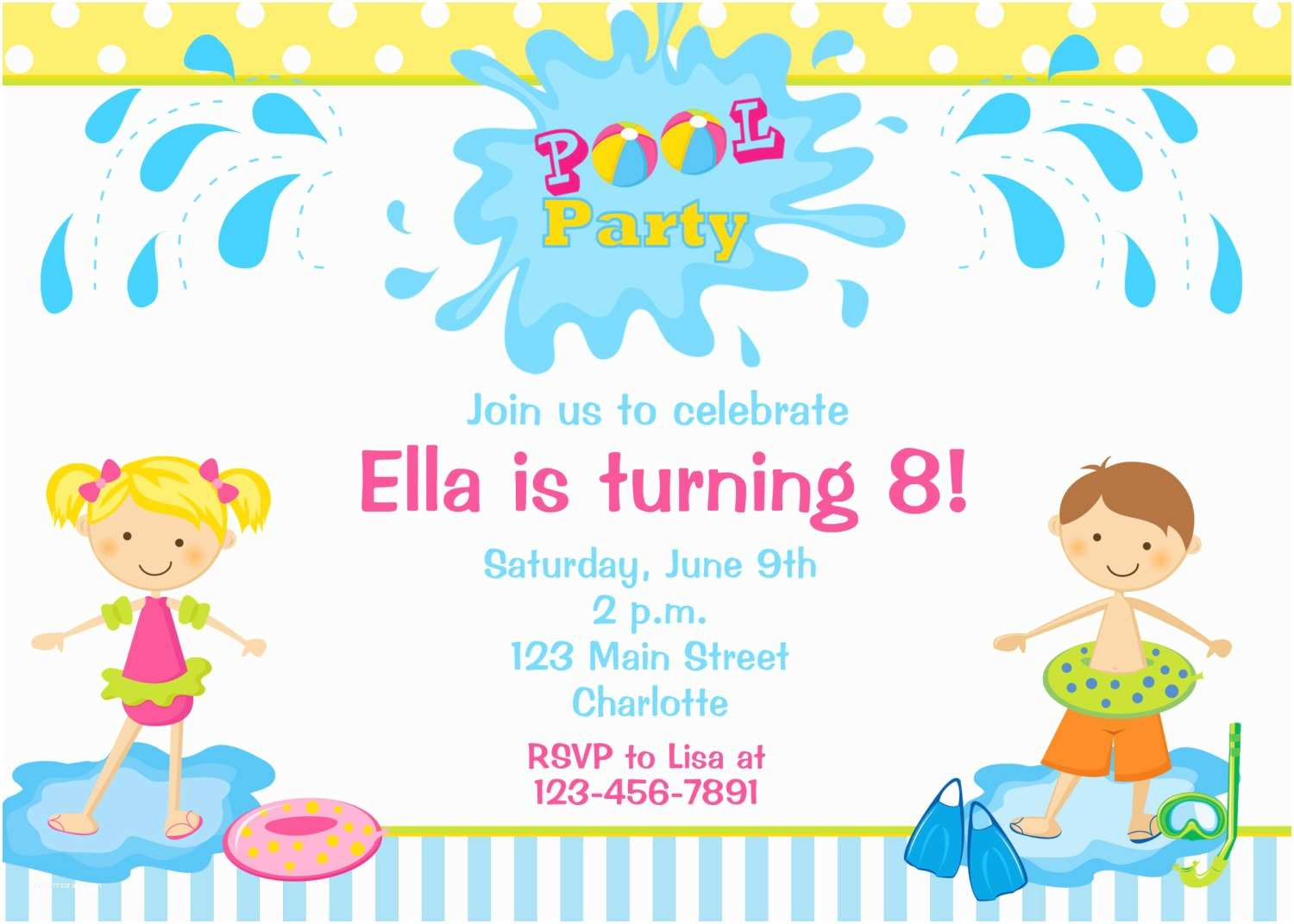 Birthday Pool Party Invitations Invitation By Thebutterflypress