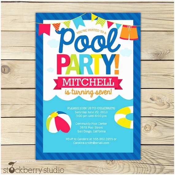 Birthday Pool Party Invitations Pool Party Birthday Invitation Printable Pool Party