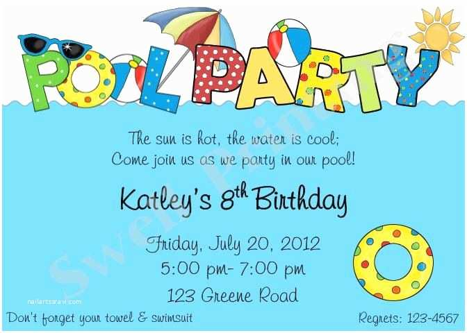 Birthday Pool Party Invitations Pool Party Birthday Invitations with