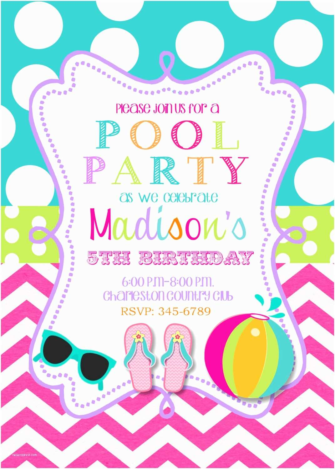 Birthday Pool Party Invitations Pool Party Birthday Party Invitations Printable or Digital
