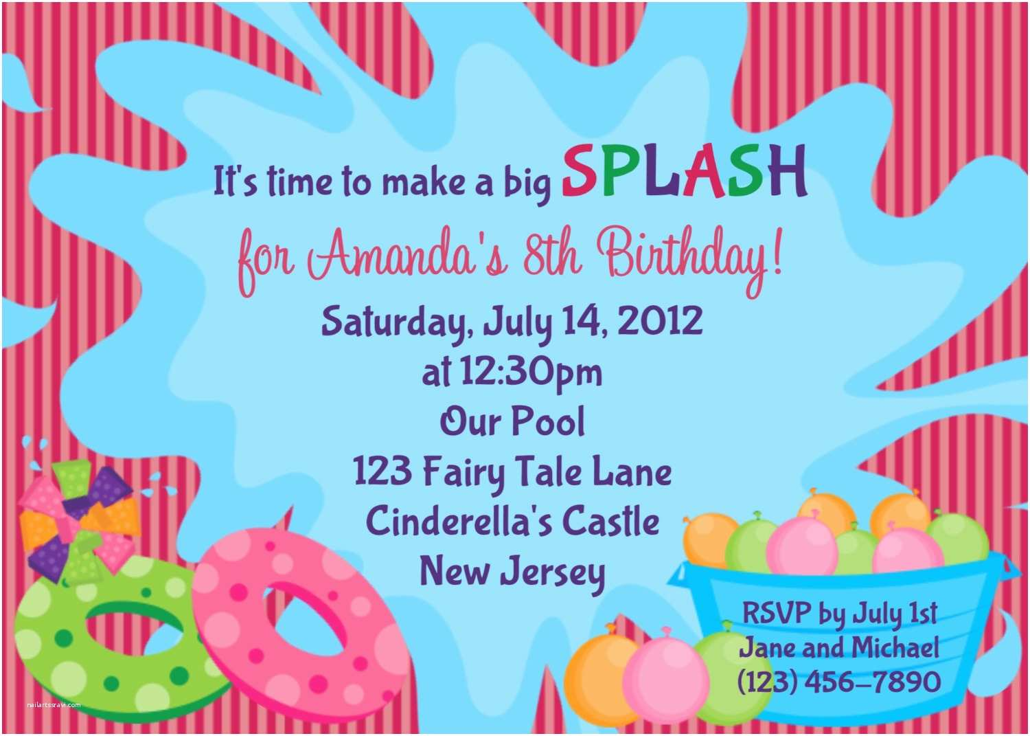 Birthday Pool Party Invitations Pool Party Birthday Party Invitations Templates Free