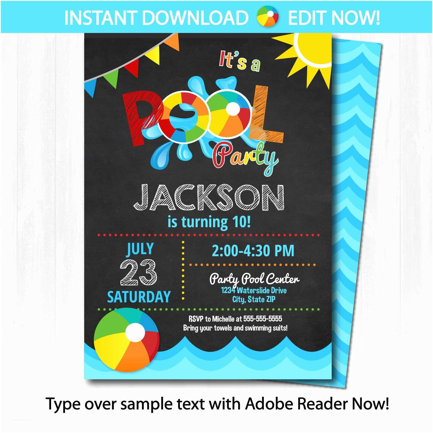 Birthday Pool Party Invitations Pool Party Invitation Swimming Pool Birthday Party by