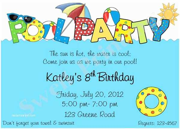 Birthday Pool Party Invitations Pool Party Invitation Template 38 Free Psd format