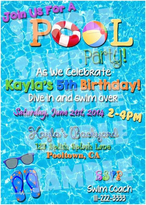 Birthday Pool Party Invitations Pool Party Invite Pool Party Invitation Summertime