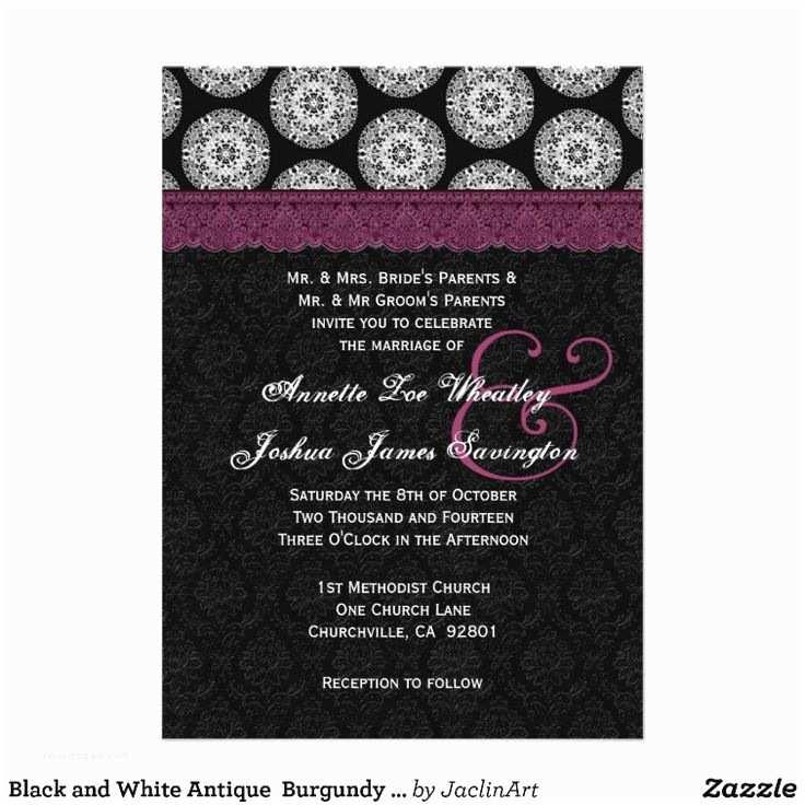 Black and Burgundy Wedding Invitations Black and White Antique Burgundy Lace Wedding 03