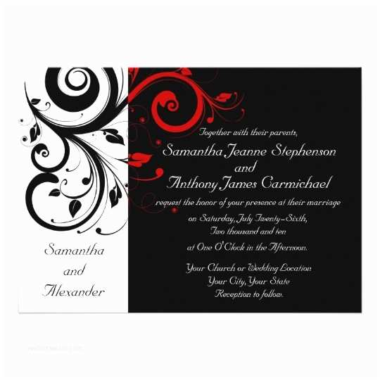 Black and Burgundy Wedding Invitations Black White Red Reverse Swirl Wedding Invitations