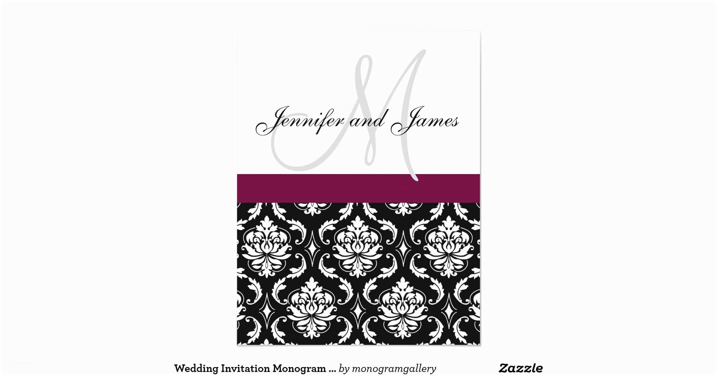 Black and Burgundy Wedding Invitations Wedding Invitation Monogram Burgundy Black Damask