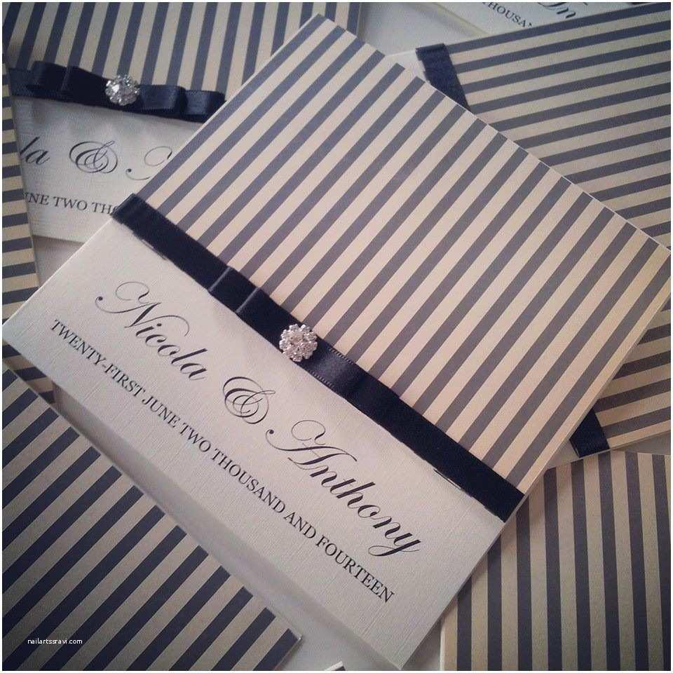 Black and Cream Wedding Invitations Black & Cream Stripe Wedding Invitation Paperrose Weddings