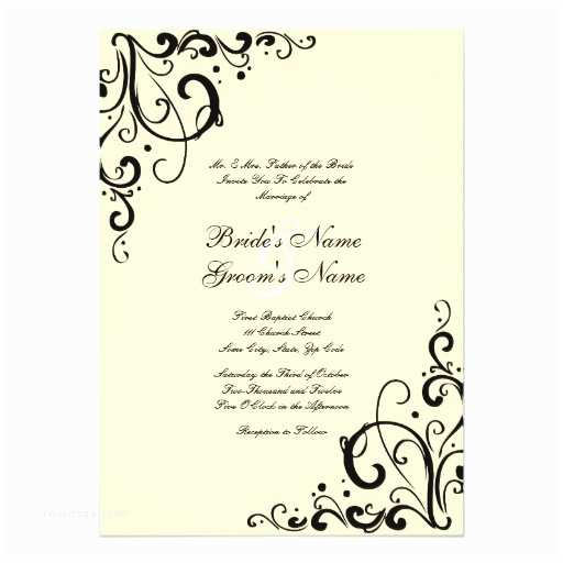 Black and Cream Wedding Invitations Black and Cream Flourish Wedding Invitation
