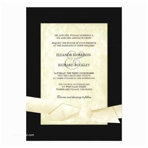 Black and Cream Wedding Invitations Black and Cream Wedding Invites Ribbon Bow