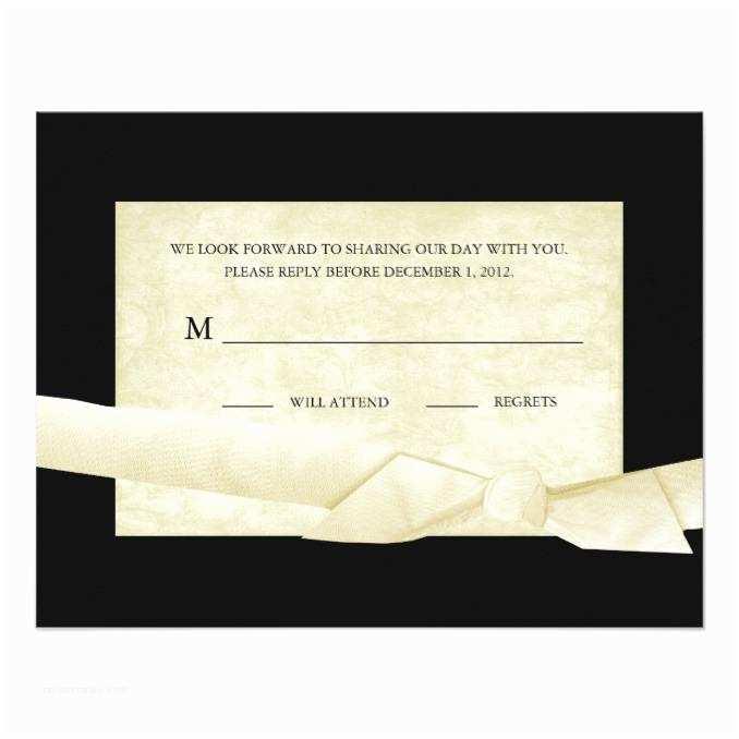 Black and Cream Wedding Invitations Black and Cream Wedding Reply Cards with Bow Wedding