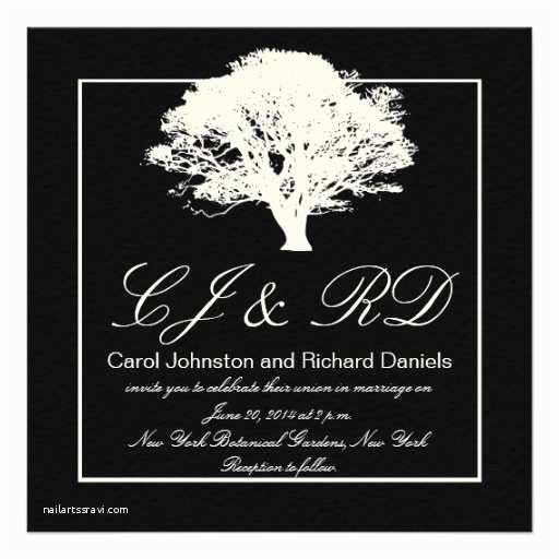 Black and Cream Wedding Invitations Black Cream Monograms Wedding Invitations Tree 5 25