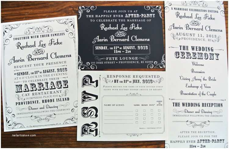 black cream vintage steampunk poster style wedding invitations