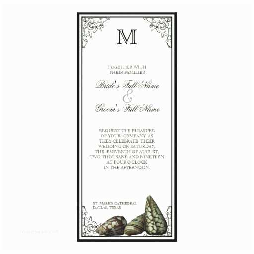 Black and Cream Wedding Invitations Class Shells Black and Cream Wedding Invitation